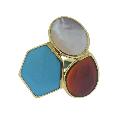 image of Ippolita Rock Candy Riviera Sky Turquoise Carnelian 18k Gold Ring