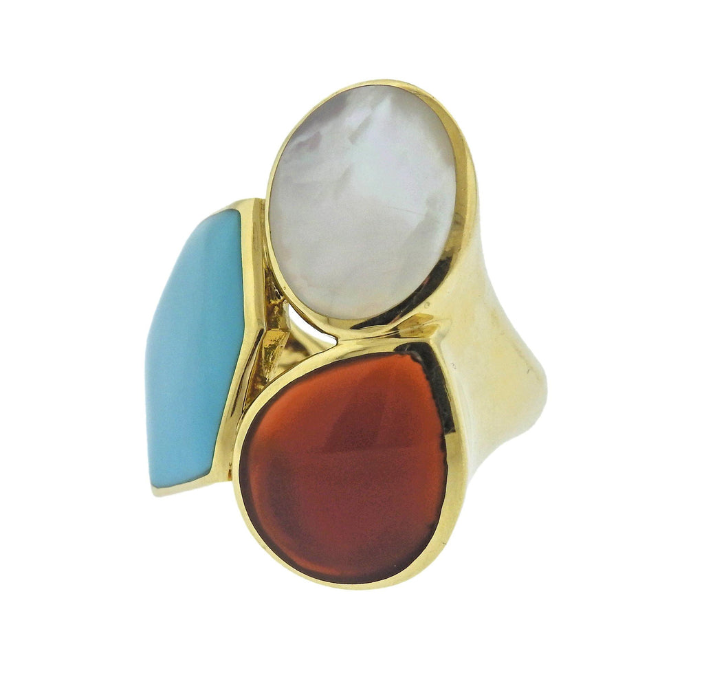 thumbnail image of Ippolita Rock Candy Riviera Sky Turquoise Carnelian 18k Gold Ring