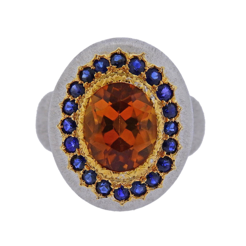 thumbnail image of Buccellati Citrine Sapphire Gold Ring