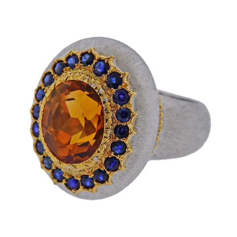 image of Buccellati Citrine Sapphire Gold Ring
