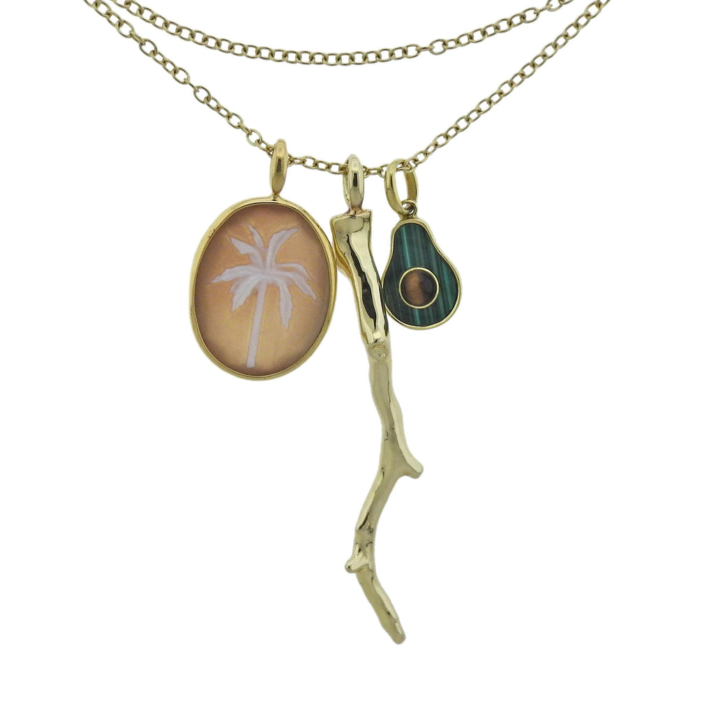 thumbnail image of Ippolita Malachite Tiger's Eye Cameo Charm Pendant Necklace