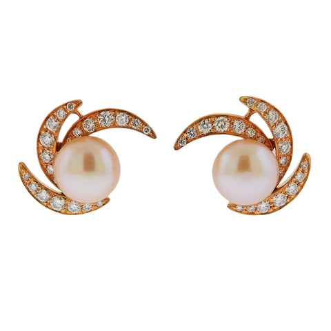 image of Io Si Rose Gold South Sea Pearl Diamond Earrings