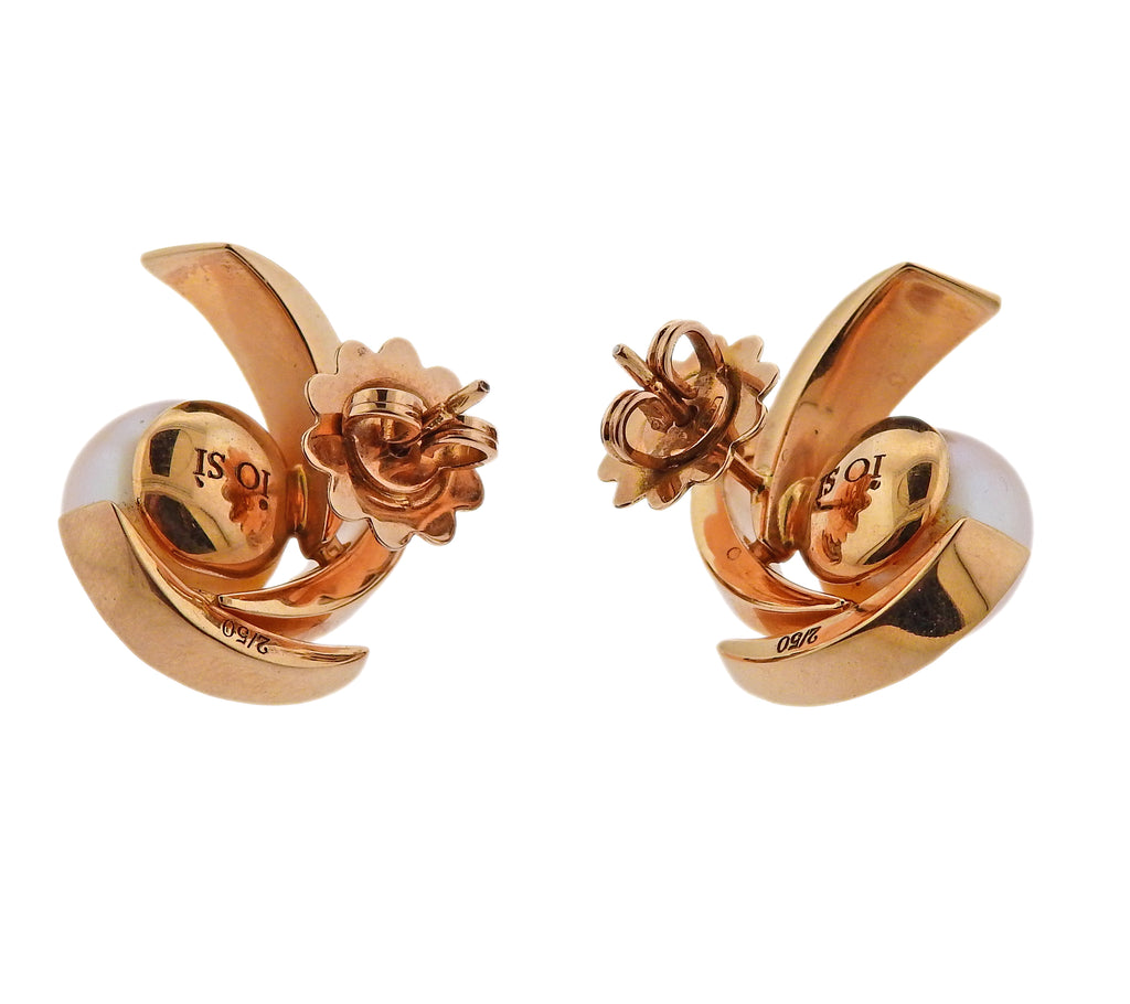 thumbnail image of Io Si Rose Gold South Sea Pearl Diamond Earrings