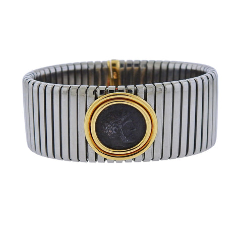 image of Bulgari Monete Gold Steel Ancient Coin Tubogas Bracelet