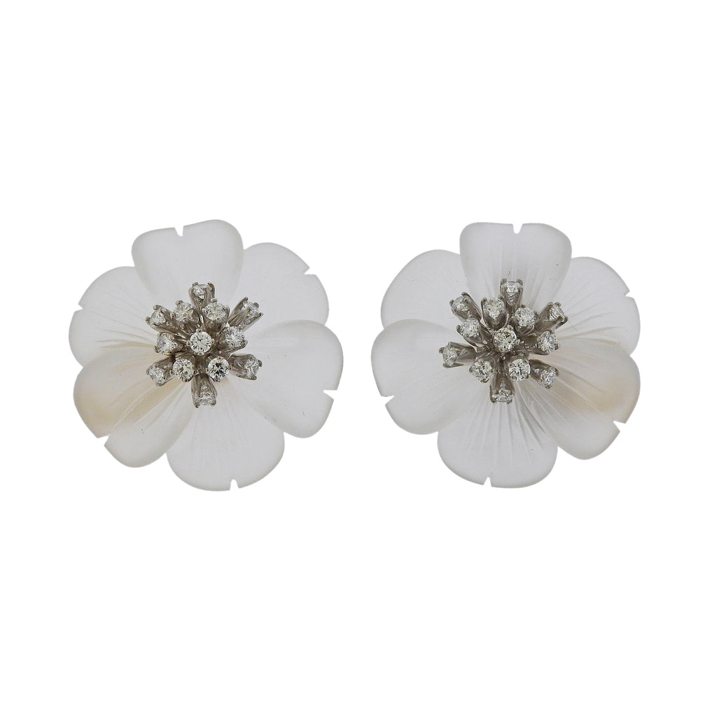 thumbnail image of Aletto Brothers Carved Crystal Diamond Gold Flower Earrings