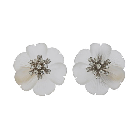 image of Aletto Brothers Carved Crystal Diamond Gold Flower Earrings