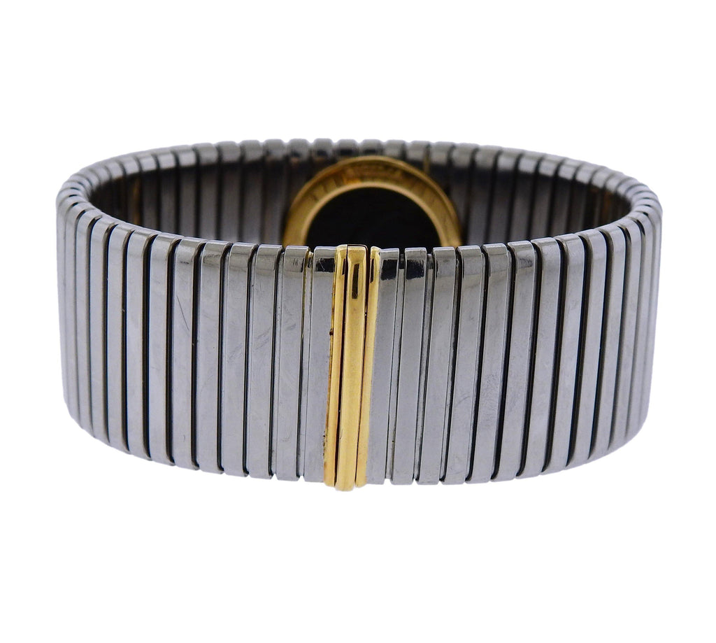 thumbnail image of Bulgari Monete Gold Steel Ancient Coin Tubogas Bracelet