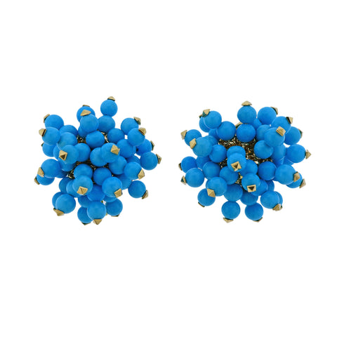 image of Aletto Brothers Sleeping Beauty Turquoise Gold Pom Pom Earrings
