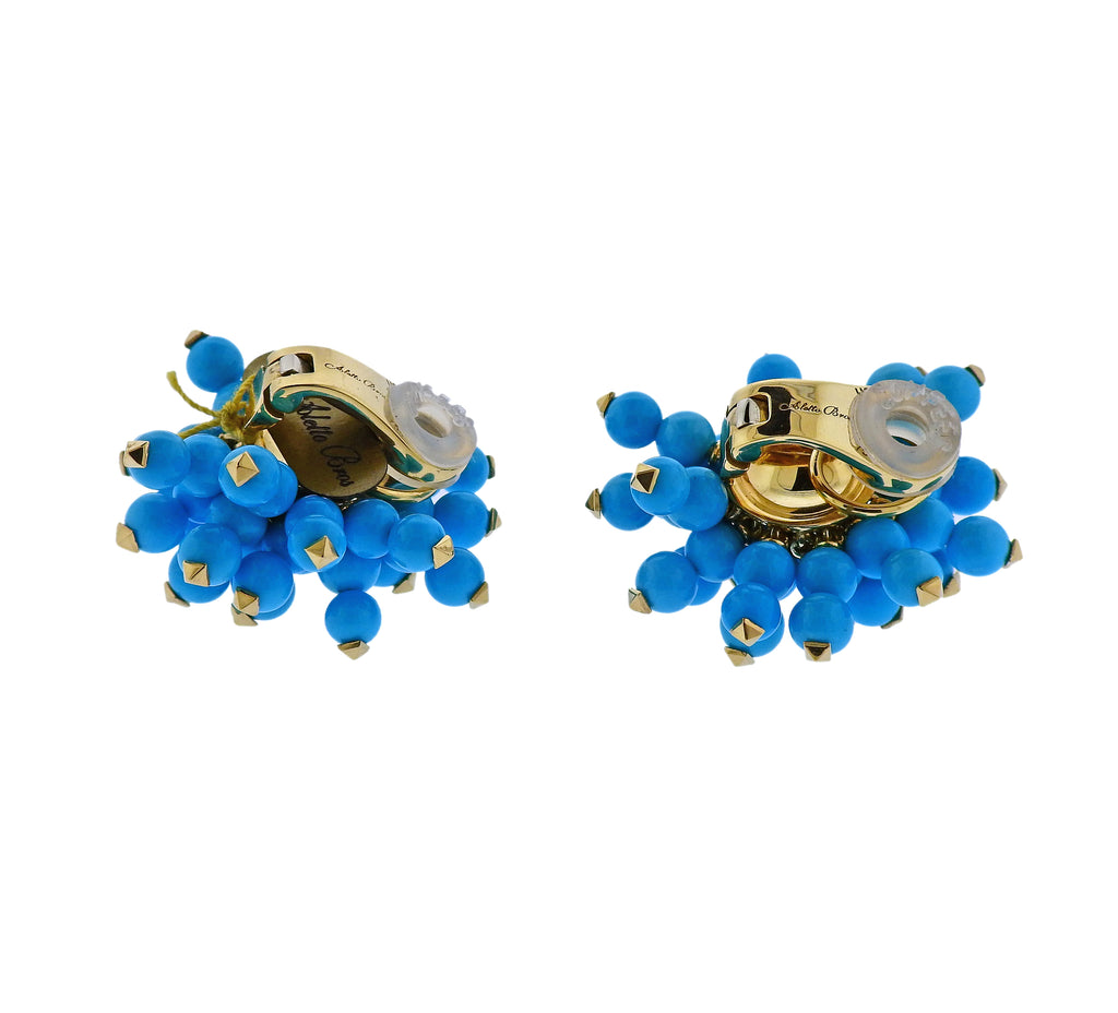 thumbnail image of Aletto Brothers Sleeping Beauty Turquoise Gold Pom Pom Earrings