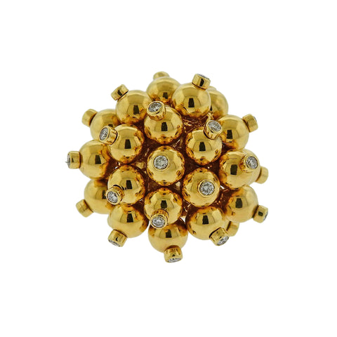 image of Aletto Brothers Diamond Gold Pom Pom Ring