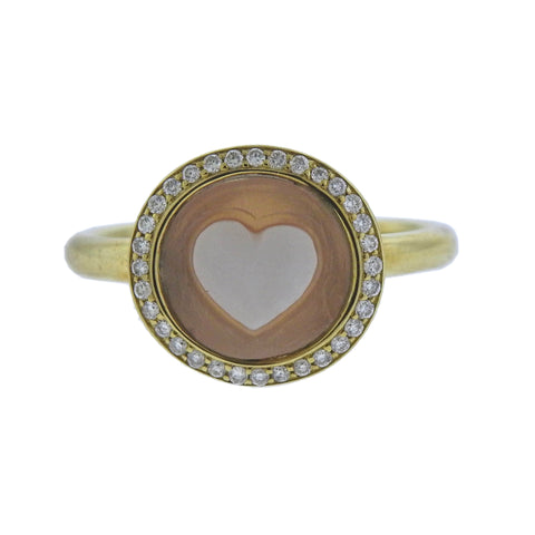 image of Ippolita Heart Cameo Diamond 18k Gold Ring