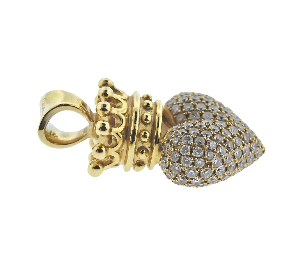 thumbnail image of King Baby Diamond Gold Crowned Heart Pendant