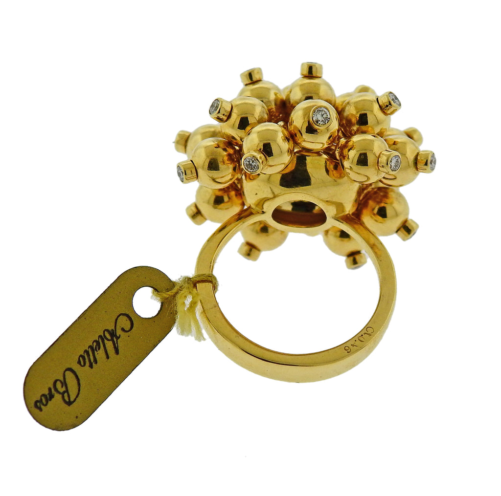 thumbnail image of Aletto Brothers Diamond Gold Pom Pom Ring