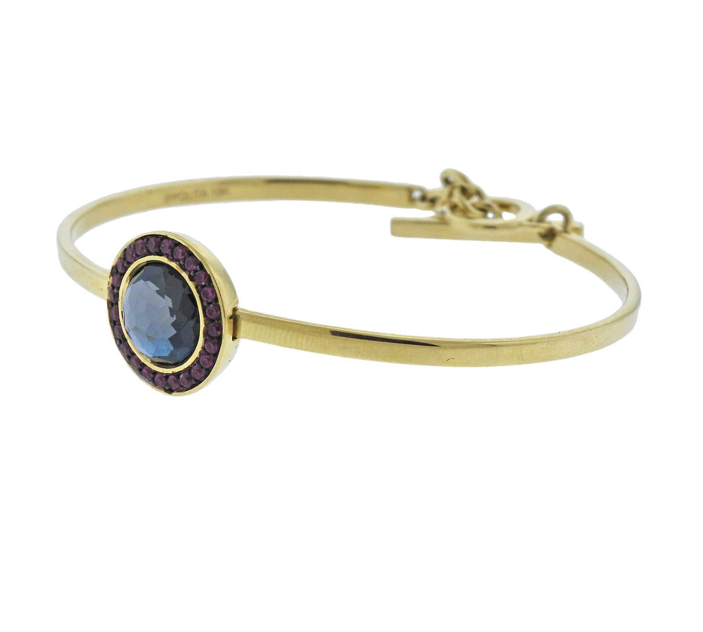 thumbnail image of Lollipop Toglette London Blue Topaz Ruby 18k Gold Bracelet