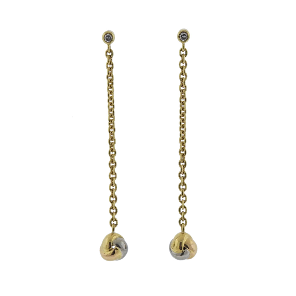 thumbnail image of Cartier Baby Trinity Diamond Gold Long Drop Earrings