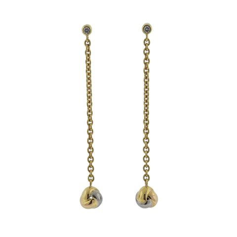 image of Cartier Baby Trinity Diamond Gold Long Drop Earrings