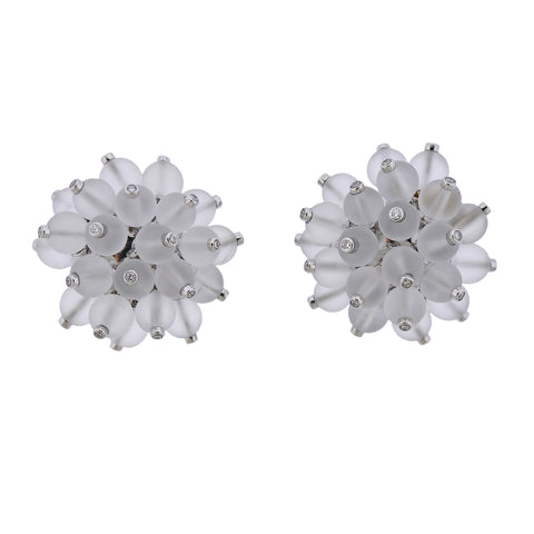 image of Aletto Brothers Diamond Crystal Gold Pom Pom Earrings