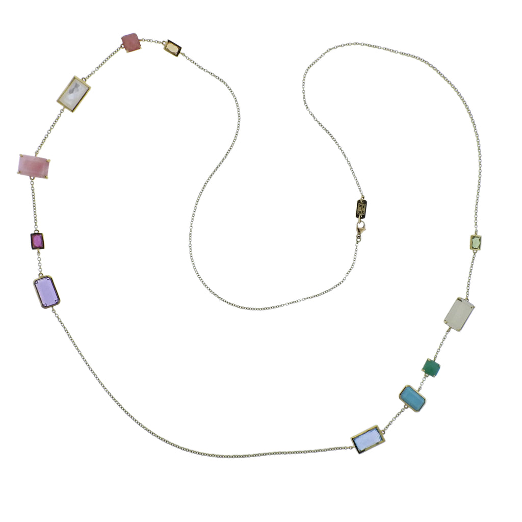 thumbnail image of Ippolita Rock Candy Summer Rainbow Gemstone 18k Gold Necklace