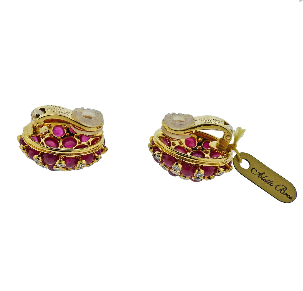 thumbnail image of Aletto Brothers 25ctw Ruby Diamond Gold Strawberry Earrings