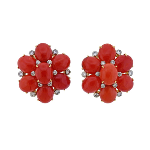 image of Aletto Brothers Coral Diamond Gold Floral Earrings
