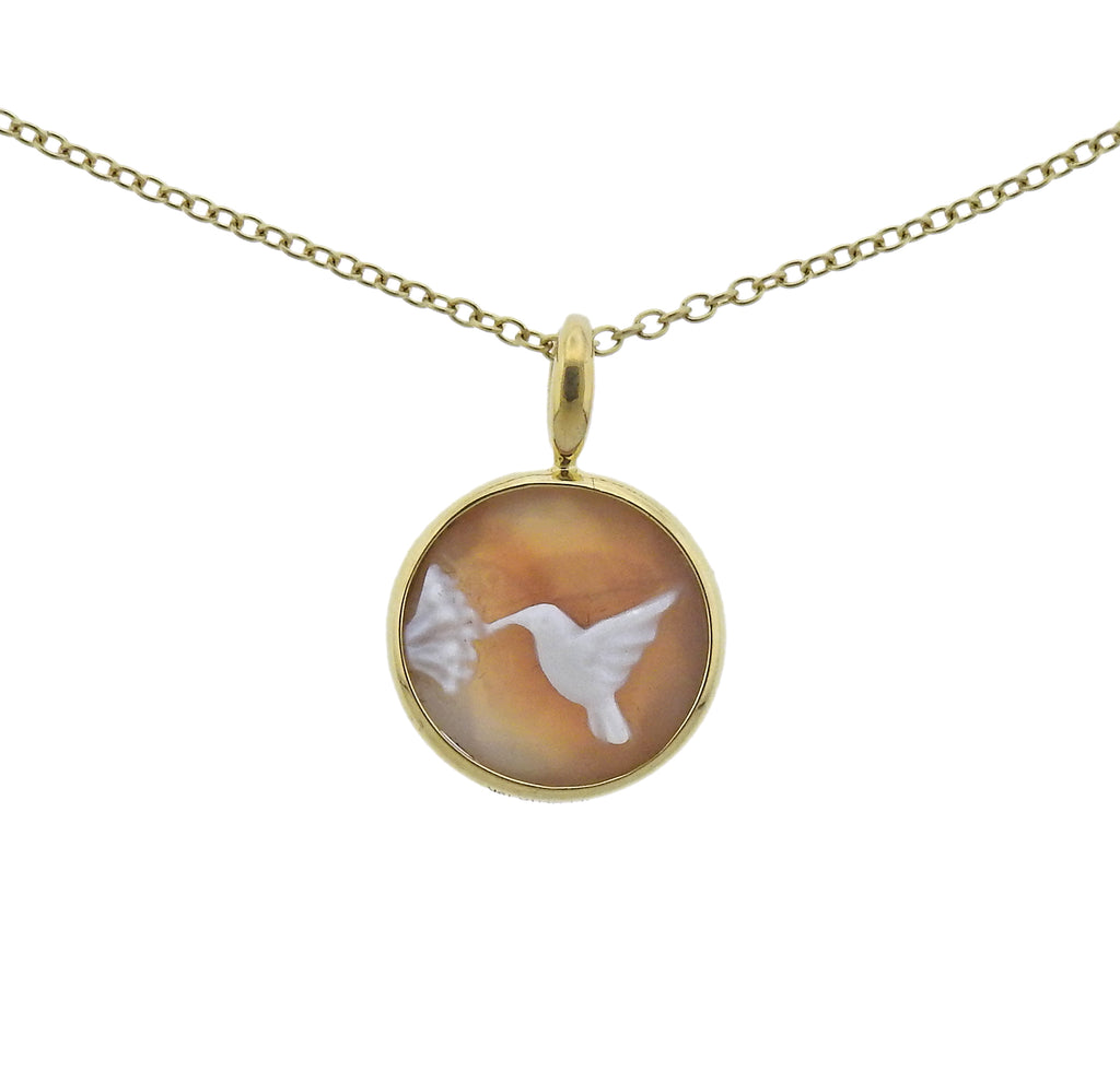 thumbnail image of Ippolita Flower Hummingbird Cameo Quartz Pendant Necklace