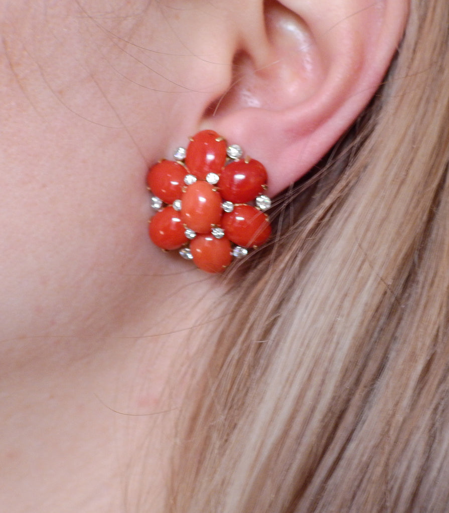 thumbnail image of Aletto Brothers Coral Diamond Gold Floral Earrings