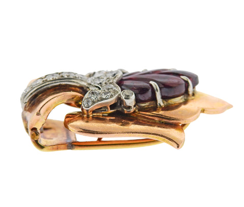 image of Cartier Retro Rose Gold Diamond Carved Tourmaline Brooch Clip