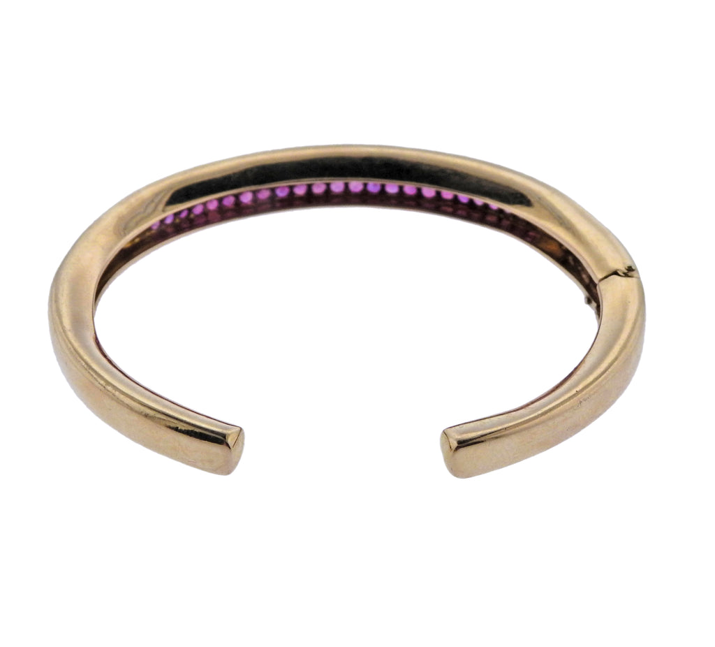 thumbnail image of Van Cleef & Arpels Pink Sapphire Gold Cuff Bracelet