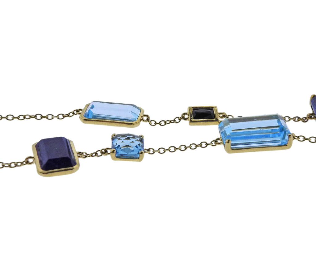 thumbnail image of Ippolita Rock Candy Mystere Quartz Lapis 18k Gold Necklace