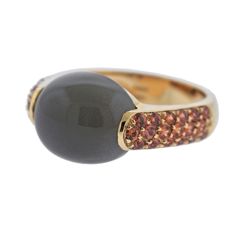 image of Roberto Coin Fantasia Grey Moonstone Citrine Gold Ring