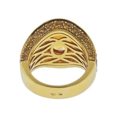 image of Roberto Coin Citrine Yellow Sapphire Gold Ring
