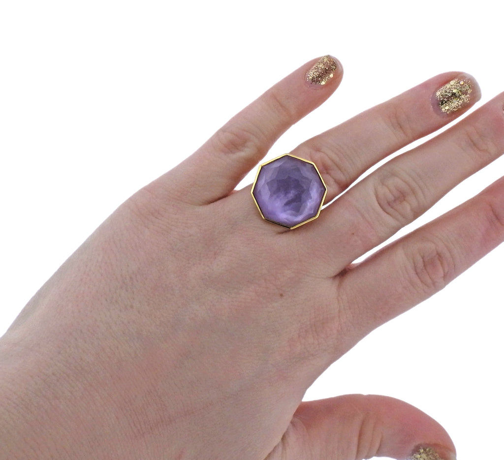 thumbnail image of Ippolita Rock Candy Amethyst Mother of Pearl 18k Gold Ring