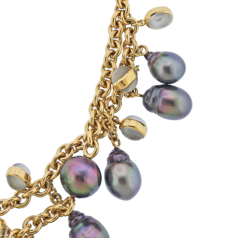image of Assael South Sea Tahitian Pearl Gold Moonstone Necklace