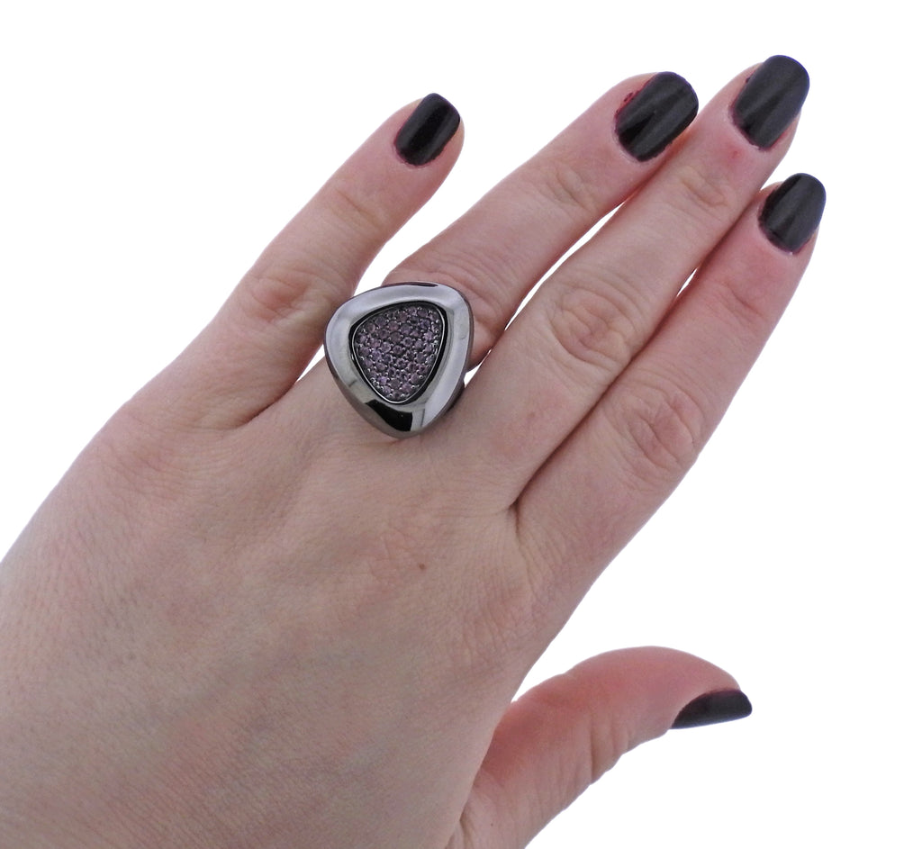 thumbnail image of Roberto Coin Capri Plus Silver Ruthenium Plated Rhodolite Ring