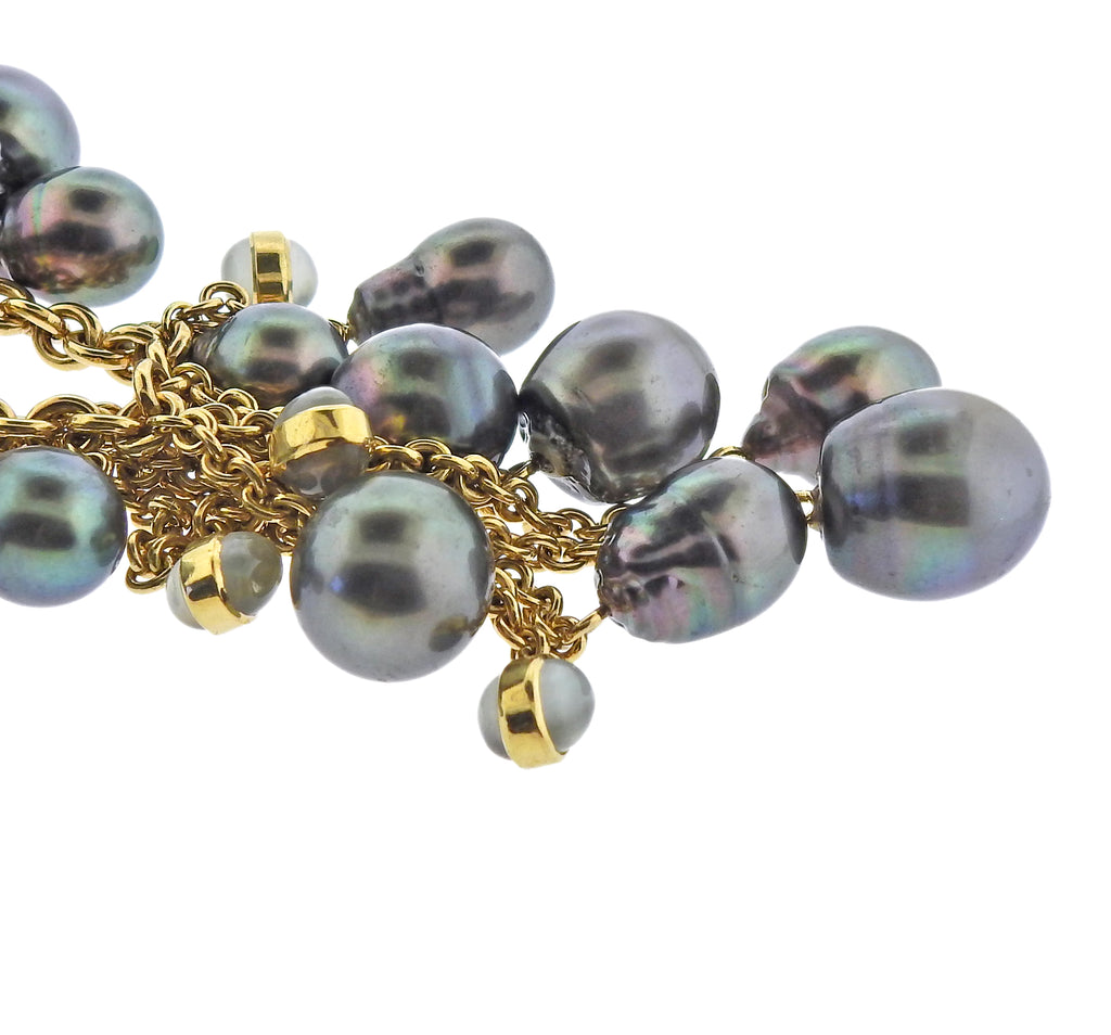 thumbnail image of Assael South Sea Tahitian Pearl Gold Moonstone Necklace