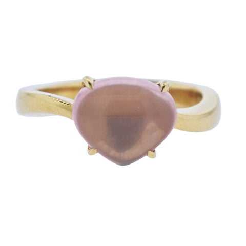 image of Bulgari Sassi Rose Quartz Gold Ring