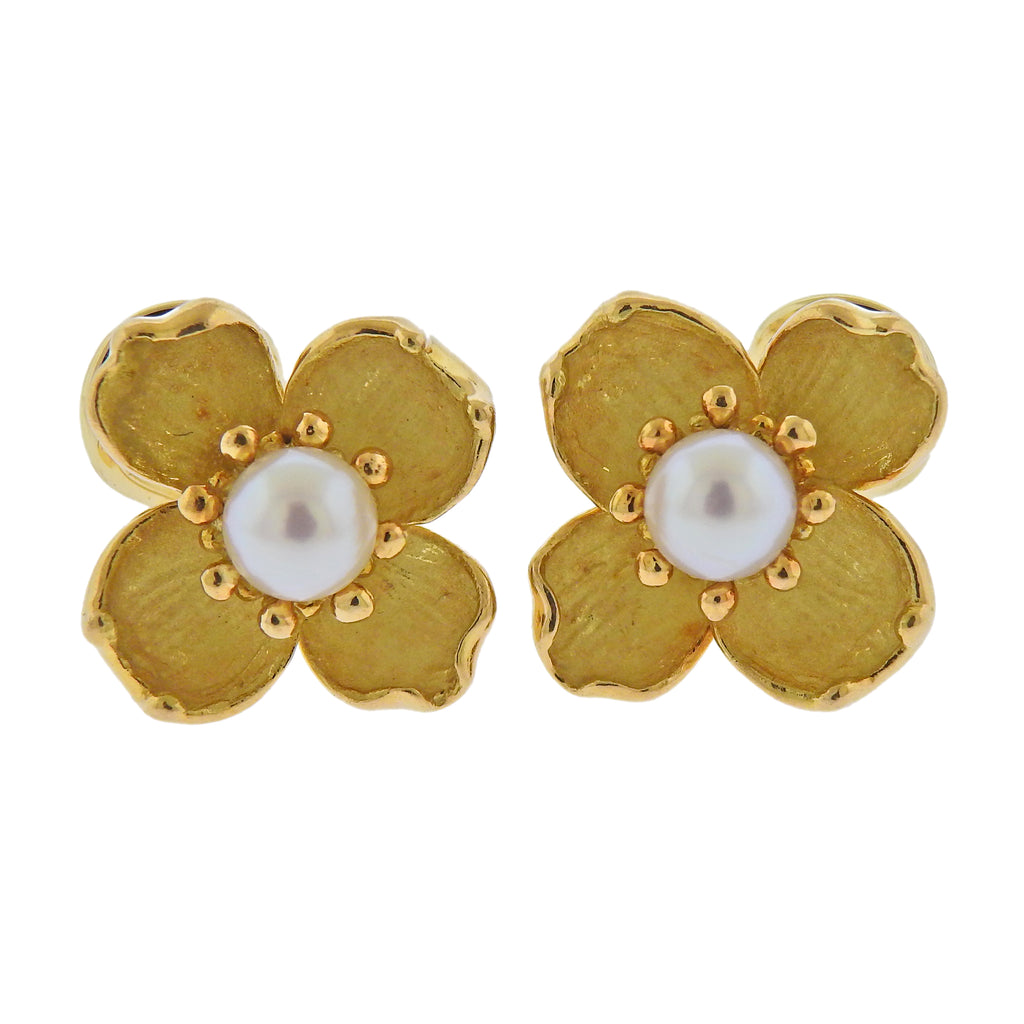 thumbnail image of Tiffany & Co Pearl Gold Dogwood Flower Earrings
