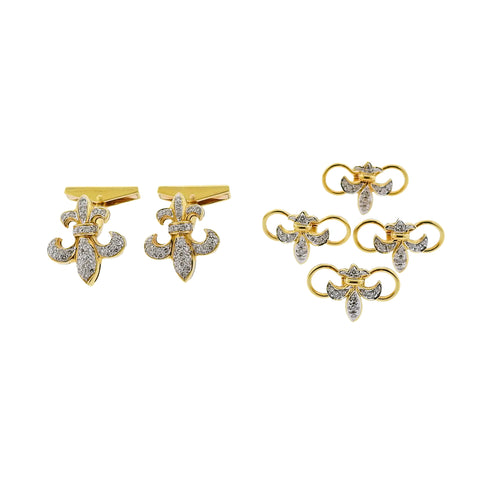 image of Fleur de Lis Diamond Gold Cufflinks Stud Set