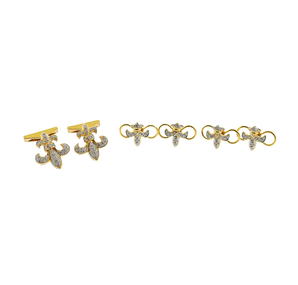 thumbnail image of Fleur de Lis Diamond Gold Cufflinks Stud Set