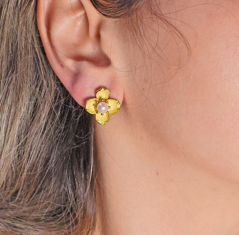image of Tiffany & Co Pearl Gold Dogwood Flower Earrings