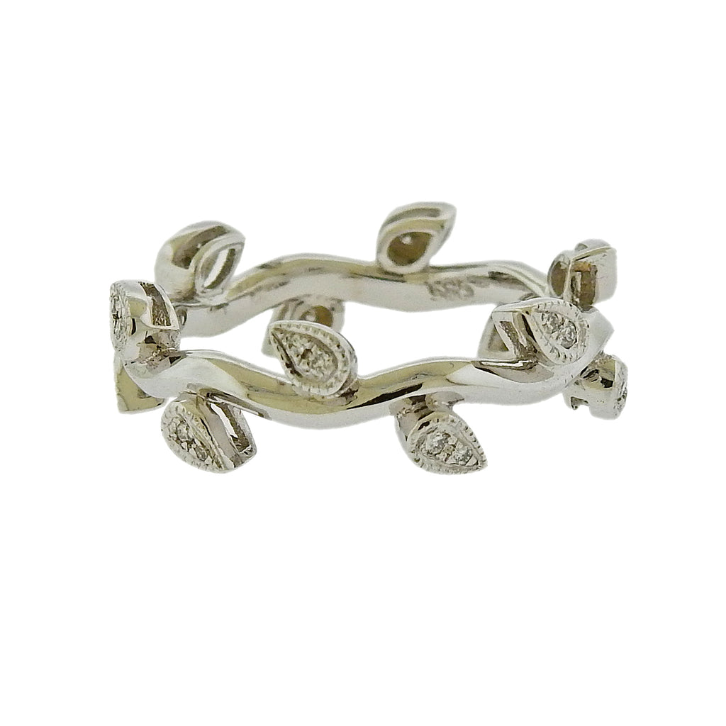 thumbnail image of Modern Leaf Design Gold Diamond Ring