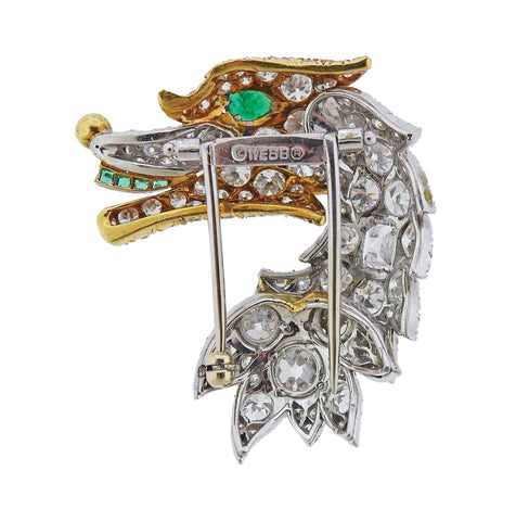 image of David Webb Diamond Emerald Platinum Gold Brooch Pin