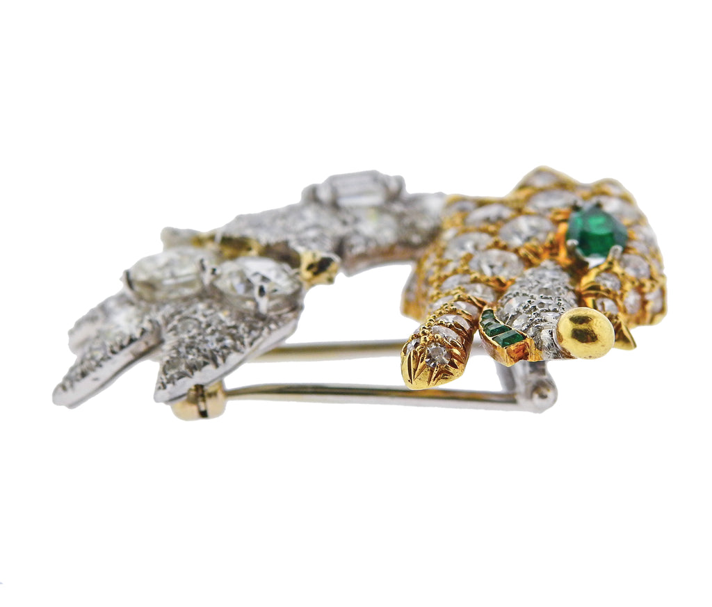 thumbnail image of David Webb Diamond Emerald Platinum Gold Brooch Pin