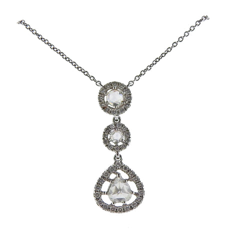 Gregg Ruth 1.01ctw Rose Cut Diamond Platinum Pendant Necklace