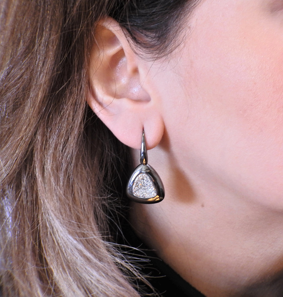 thumbnail image of Roberto Coin Capri Plus Silver Ruthenium Plated Diamond Earrings