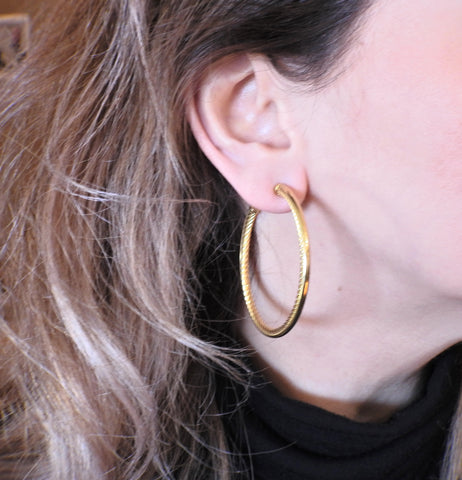 image of David Yurman Cable Gold Large Hoop Earrings