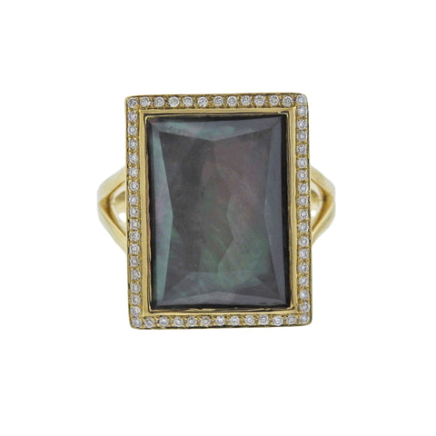 image of Ippolita Gelato Black Shell Diamond Quartz 18k Gold Ring