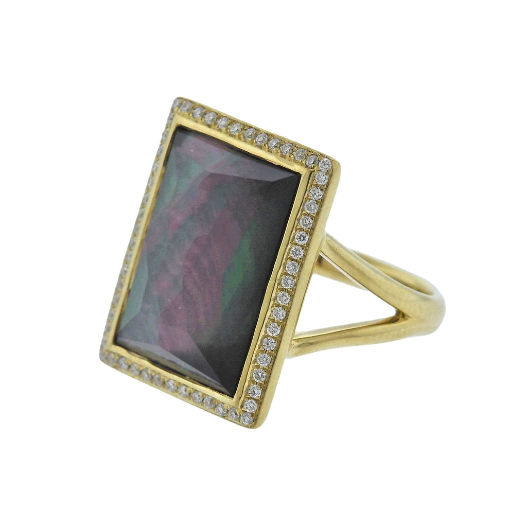 thumbnail image of Ippolita Gelato Black Shell Diamond Quartz 18k Gold Ring