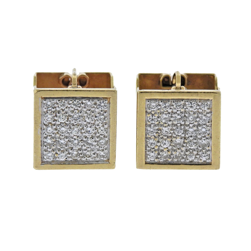 thumbnail image of Modernist Geometric Diamond Gold Cube Earrings