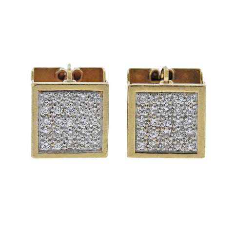 image of Modernist Geometric Diamond Gold Cube Earrings